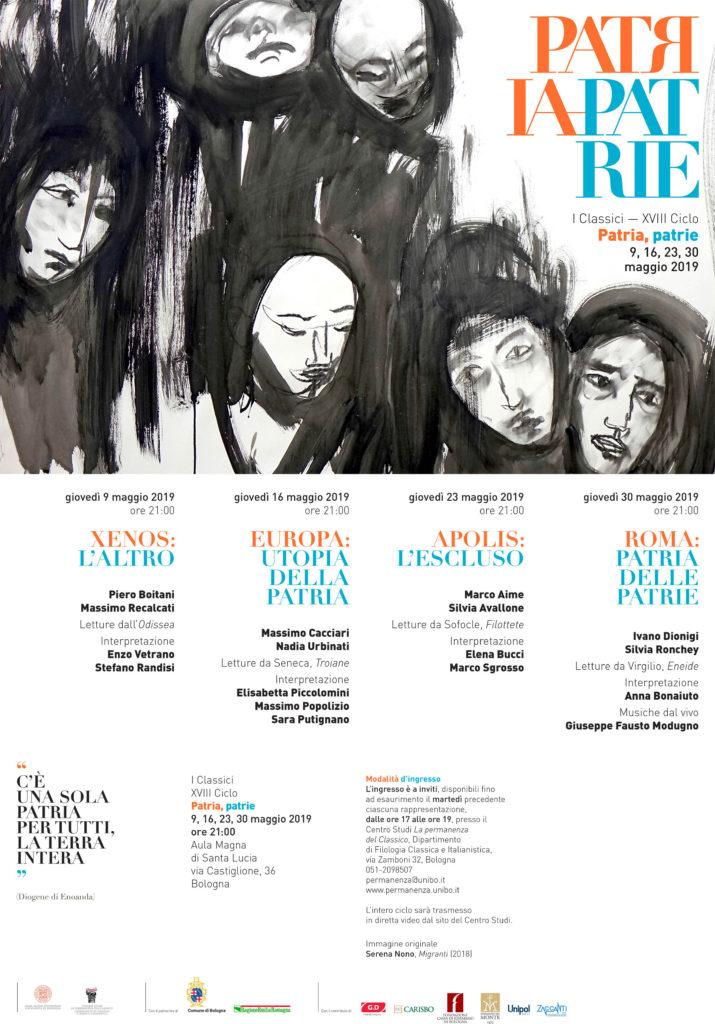 """Locandina della rassegna """"I Classici"""" 2019 dell'Alma Mater. Vetrano e Randisi leggono passi dall'Odissea."""